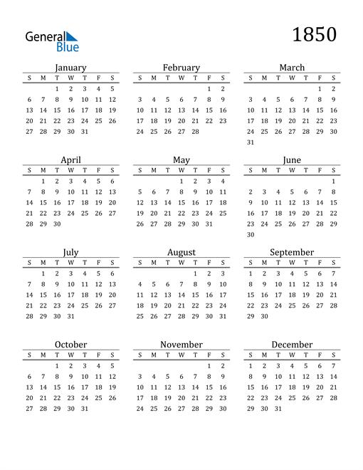Image of 1850 1850 Printable Calendar Classic