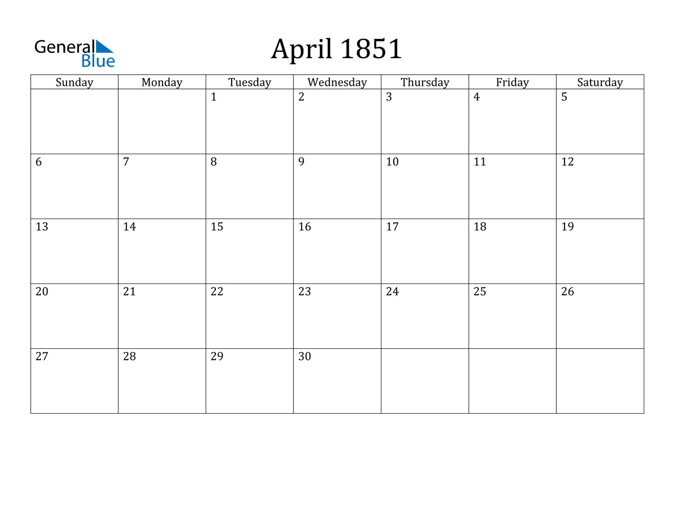 Image of April 1851 Calendar