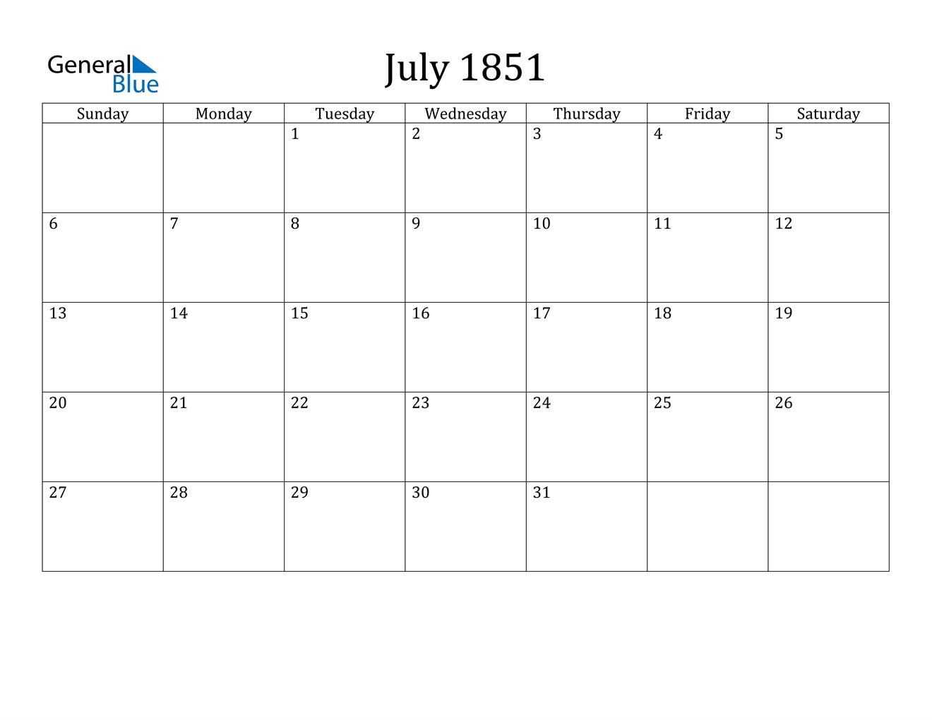 Image of July 1851 Calendar
