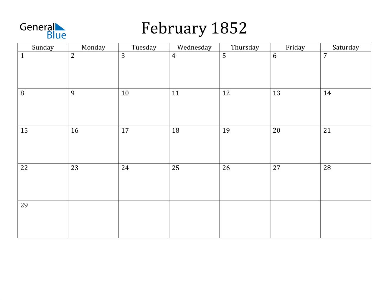 Image of February 1852 Calendar