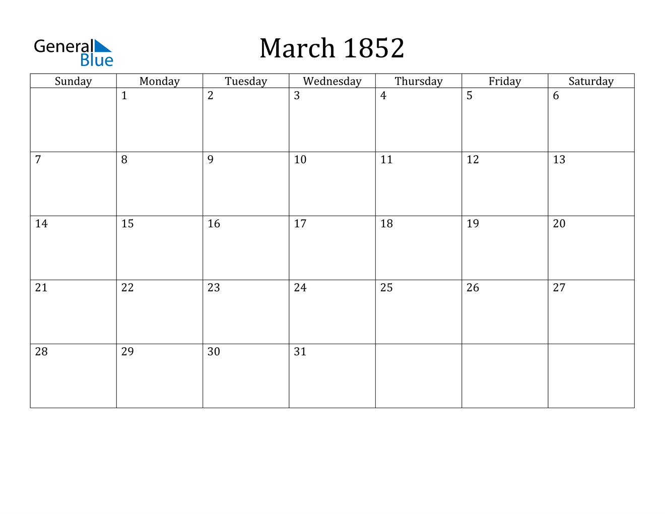Image of March 1852 Calendar