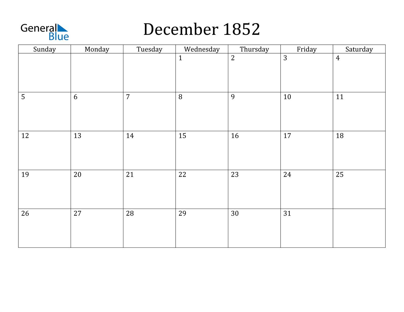 Image of December 1852 Calendar