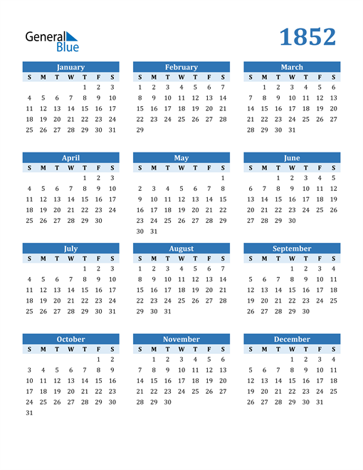 Image of 1852 1852 Calendar Blue with No Borders