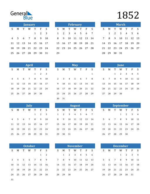 Image of 1852 1852 Calendar