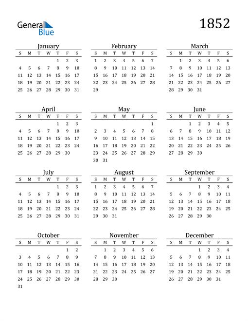 Image of 1852 1852 Printable Calendar Classic