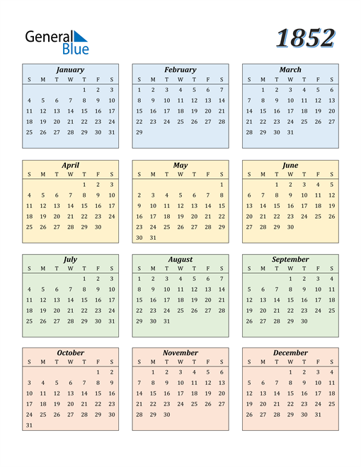 Image of 1852 1852 Calendar with Color