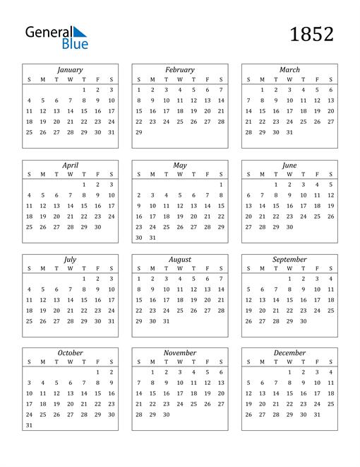 Image of 1852 1852 Calendar Streamlined