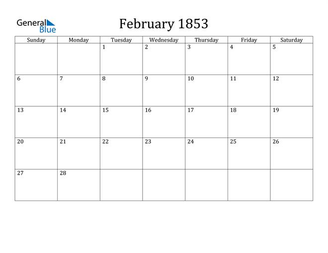 Image of February 1853 Classic Professional Calendar Calendar