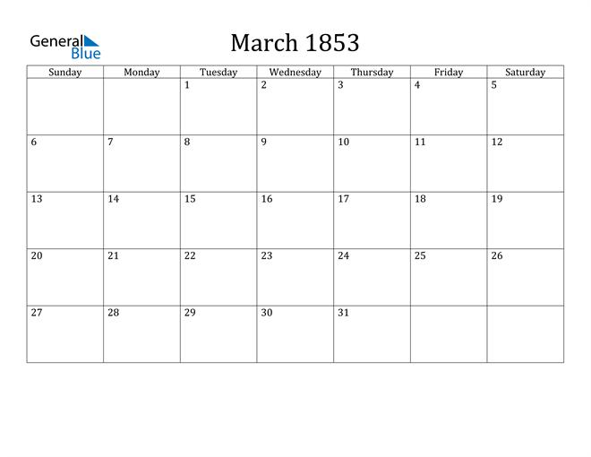 Image of March 1853 Classic Professional Calendar Calendar