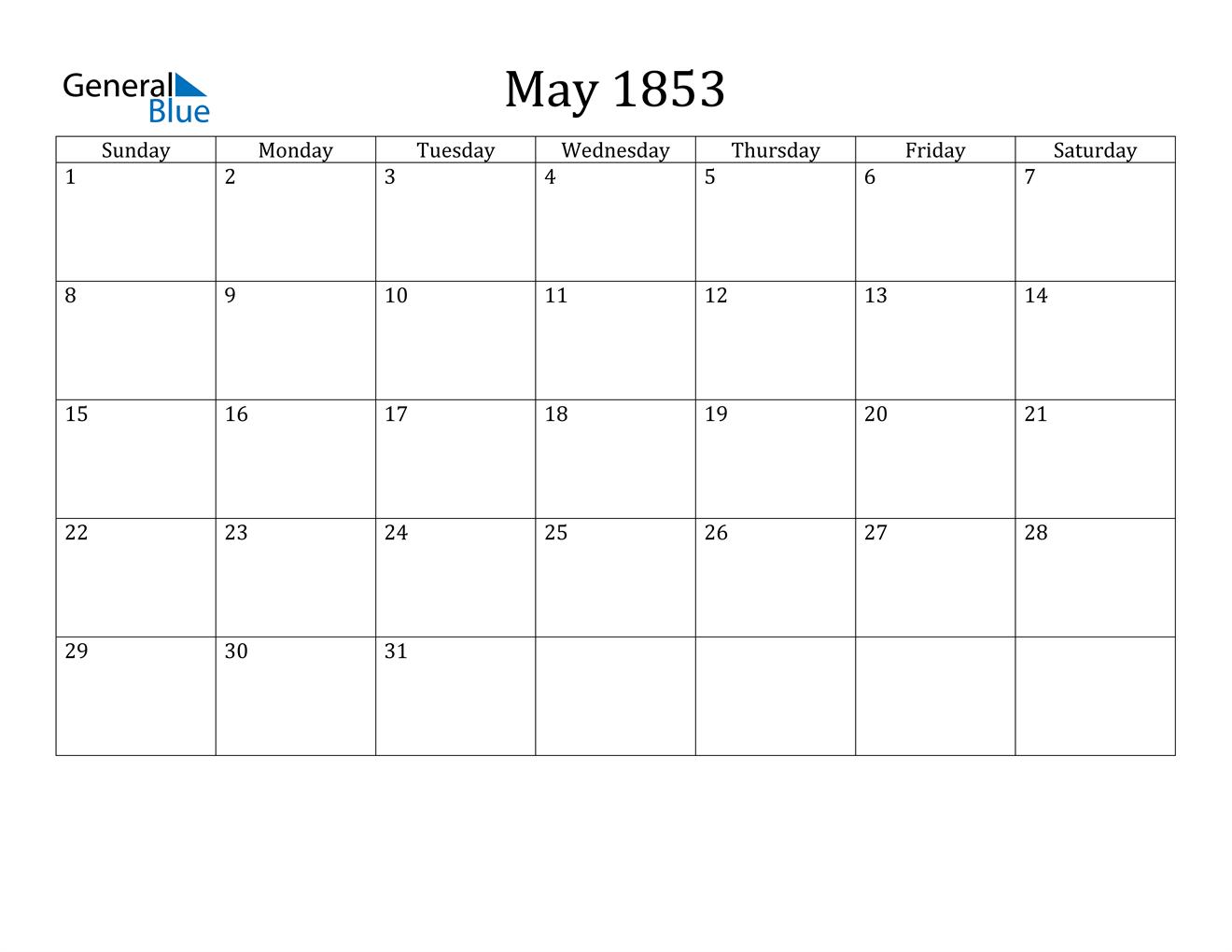 Image of May 1853 Calendar