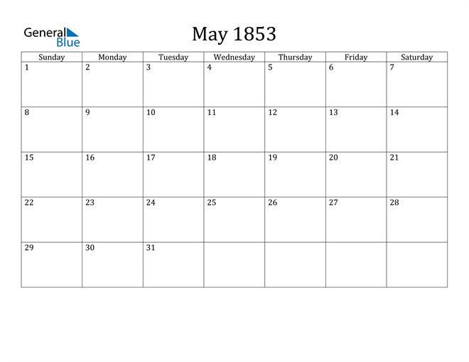 Image of May 1853 Classic Professional Calendar Calendar
