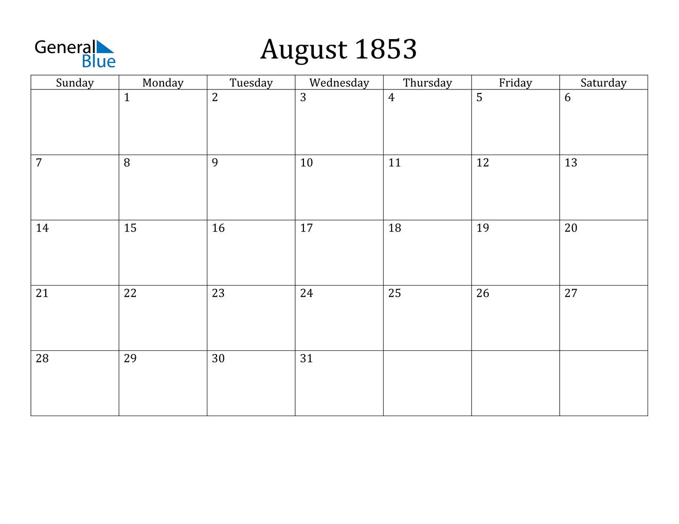 Image of August 1853 Calendar