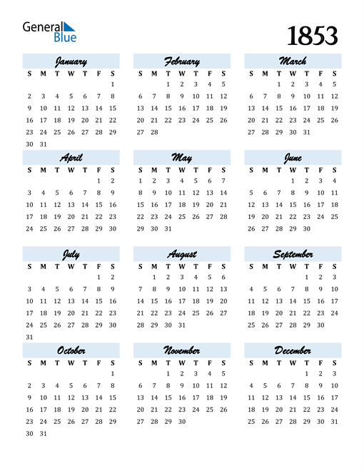 Image of 1853 1853 Calendar Cool and Funky