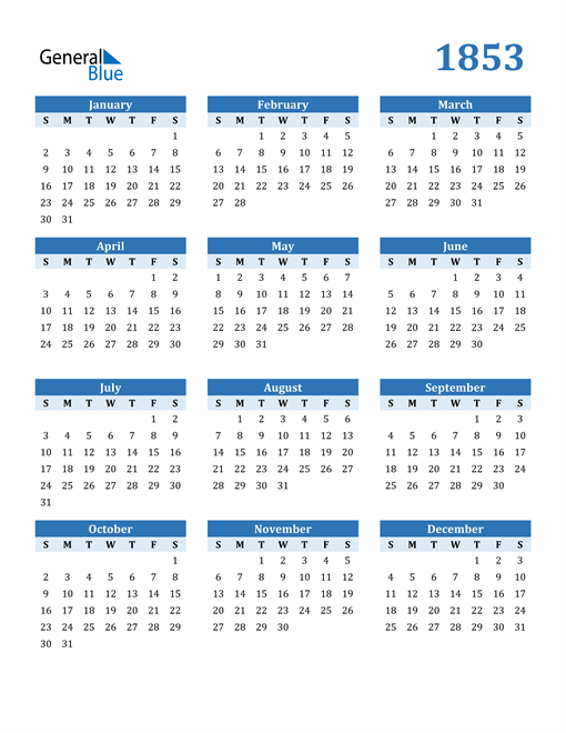 Image of 1853 1853 Calendar Blue with No Borders