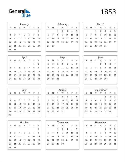 Image of 1853 1853 Calendar Streamlined
