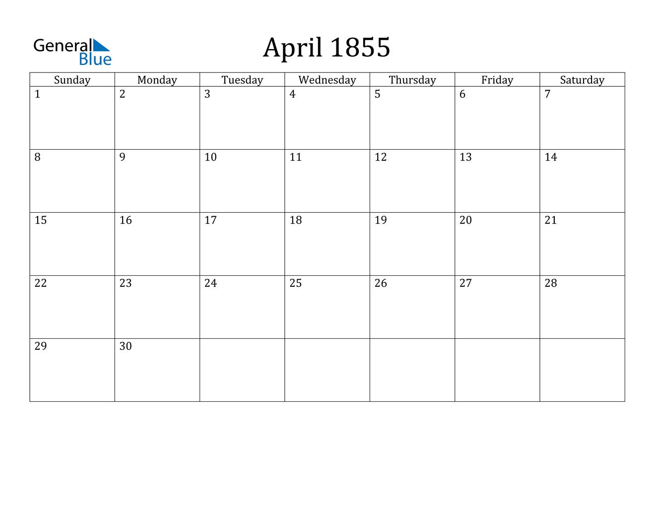 Image of April 1855 Calendar