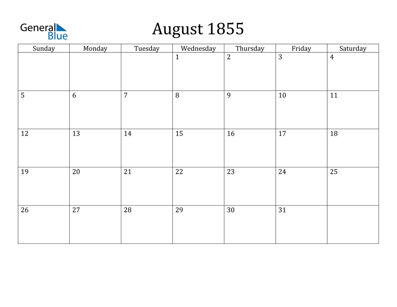 Image of August 1855 Calendar