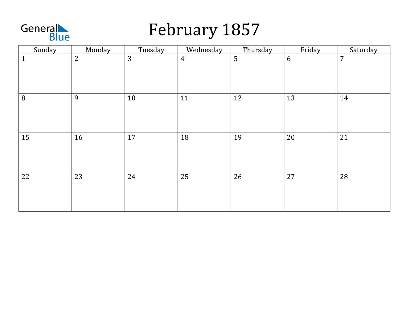 Image of February 1857 Calendar