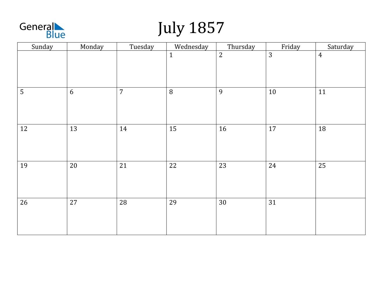 Image of July 1857 Calendar