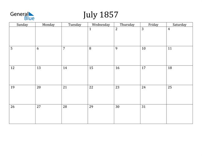 Image of July 1857 Classic Professional Calendar Calendar