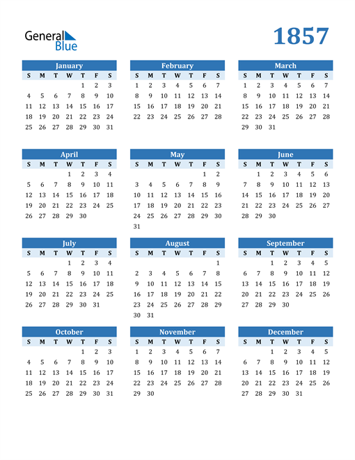 Image of 1857 1857 Calendar Blue with No Borders