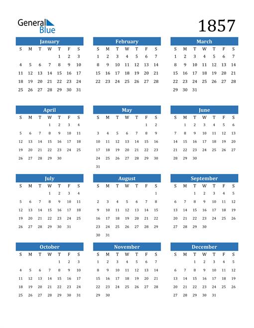 Image of 1857 1857 Calendar