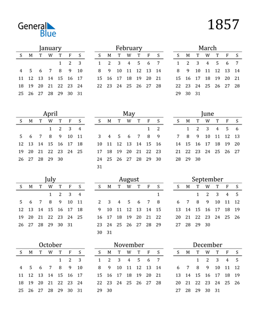 Image of 1857 1857 Printable Calendar Classic