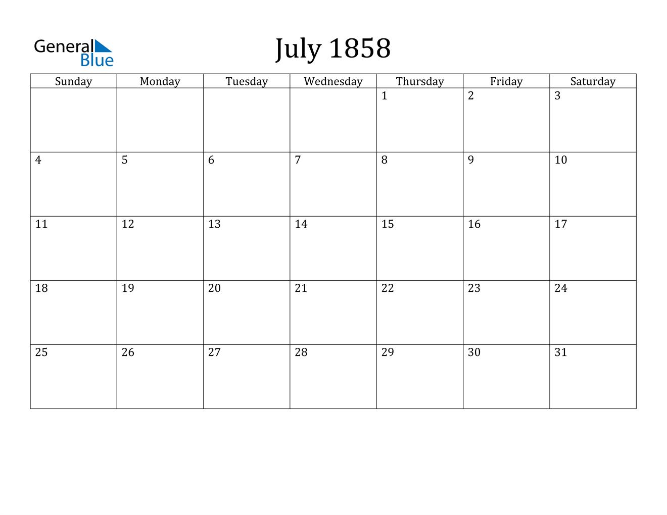 Image of July 1858 Calendar