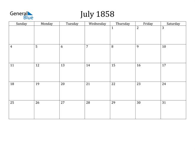 Image of July 1858 Classic Professional Calendar Calendar