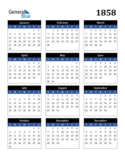 Image of 1858 1858 Calendar Stylish Dark Blue and Black