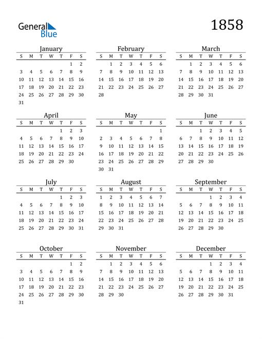 Image of 1858 1858 Printable Calendar Classic