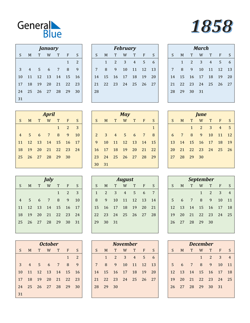 Image of 1858 1858 Calendar with Color