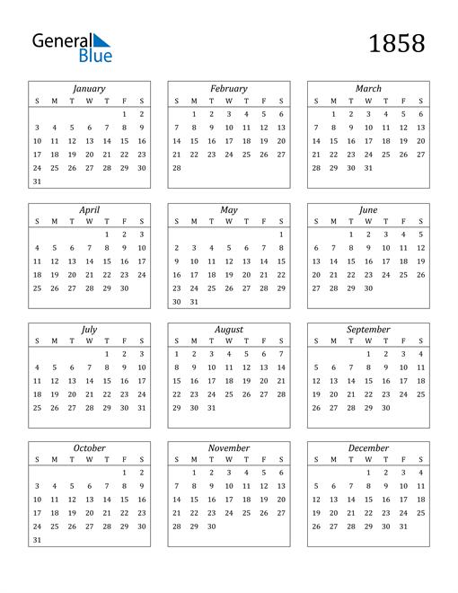 Image of 1858 1858 Calendar Streamlined