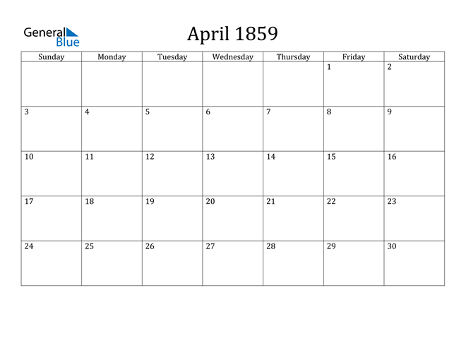 Image of April 1859 Classic Professional Calendar Calendar