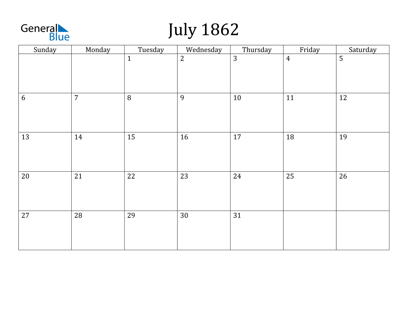 Image of July 1862 Calendar