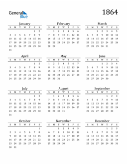 Image of 1864 1864 Printable Calendar Classic