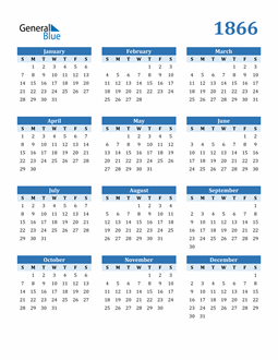 Image of 1866 1866 Calendar Blue with No Borders
