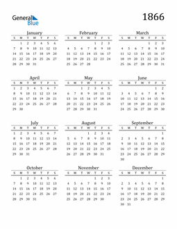 Image of 1866 1866 Printable Calendar Classic