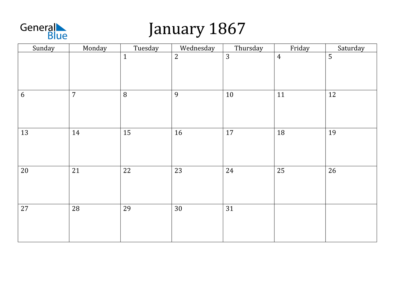 Image of January 1867 Calendar