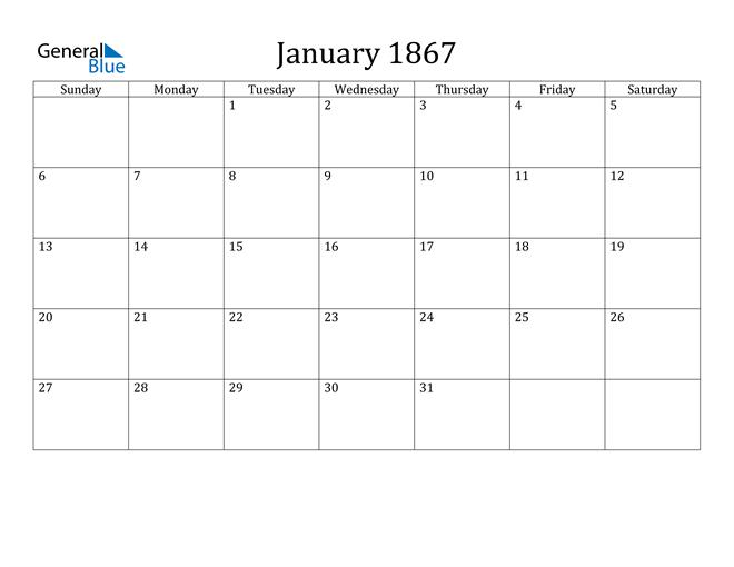 Image of January 1867 Classic Professional Calendar Calendar