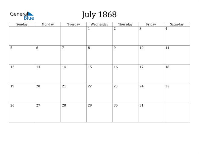 Image of July 1868 Classic Professional Calendar Calendar