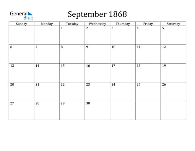 Image of September 1868 Classic Professional Calendar Calendar