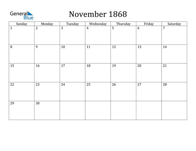 Image of November 1868 Classic Professional Calendar Calendar