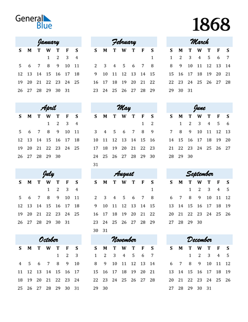 Image of 1868 1868 Calendar Cool and Funky