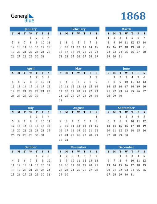 Image of 1868 1868 Calendar Blue with No Borders