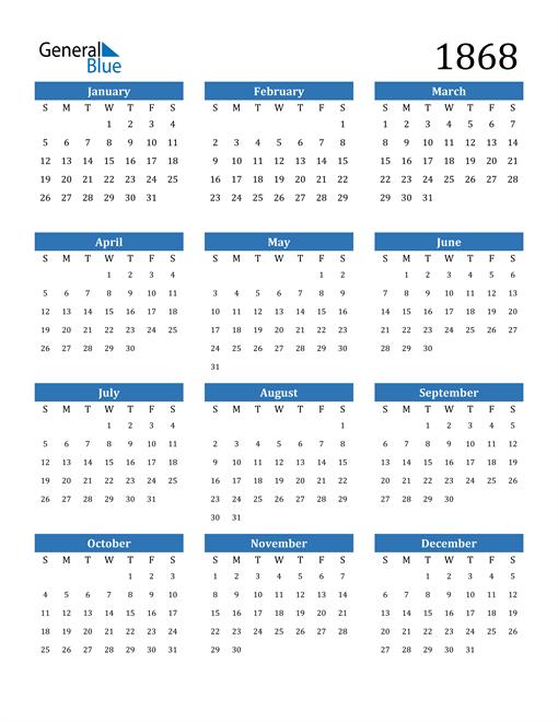 Image of 1868 1868 Calendar