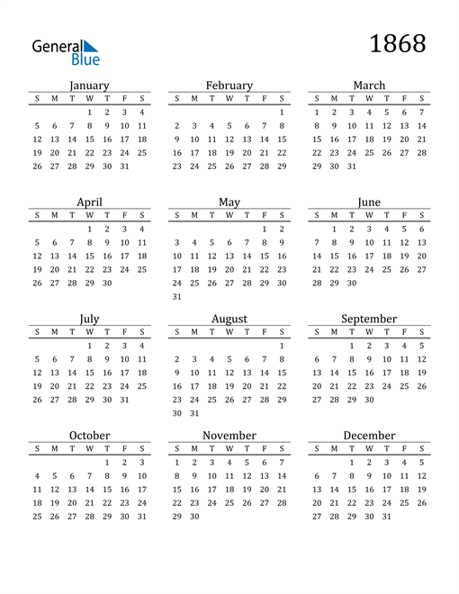 Image of 1868 1868 Printable Calendar Classic