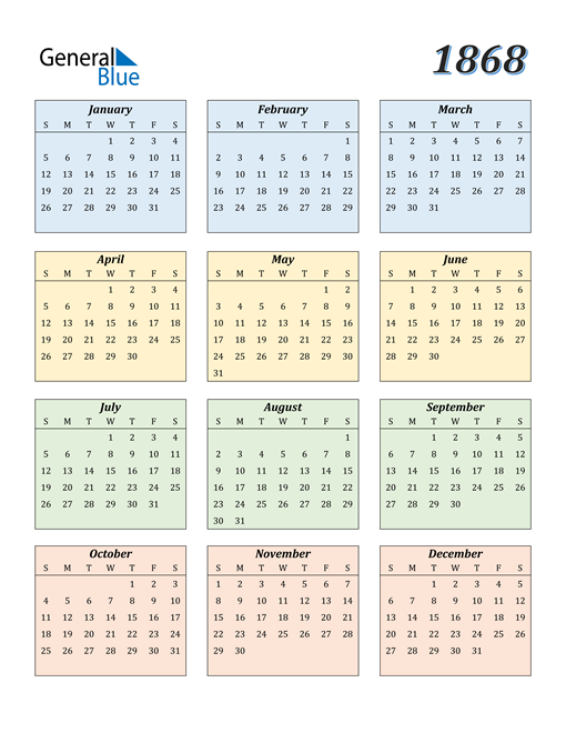 Image of 1868 1868 Calendar with Color