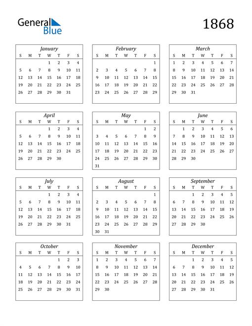 Image of 1868 1868 Calendar Streamlined