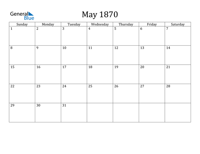 Image of May 1870 Classic Professional Calendar Calendar